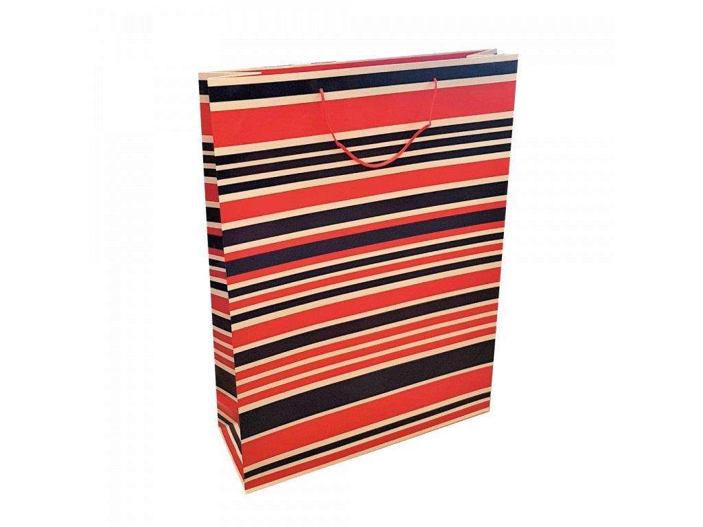 Dárková taška jumbo XXL Proužky modré a červené