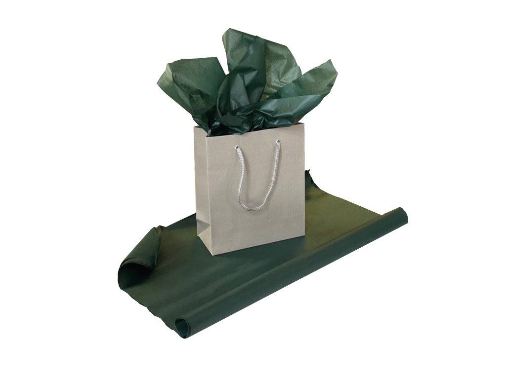 Hedvábný papír Tmavě zelený