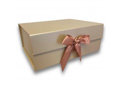 darkova krabicka magneticka se stuhou kremove zlata