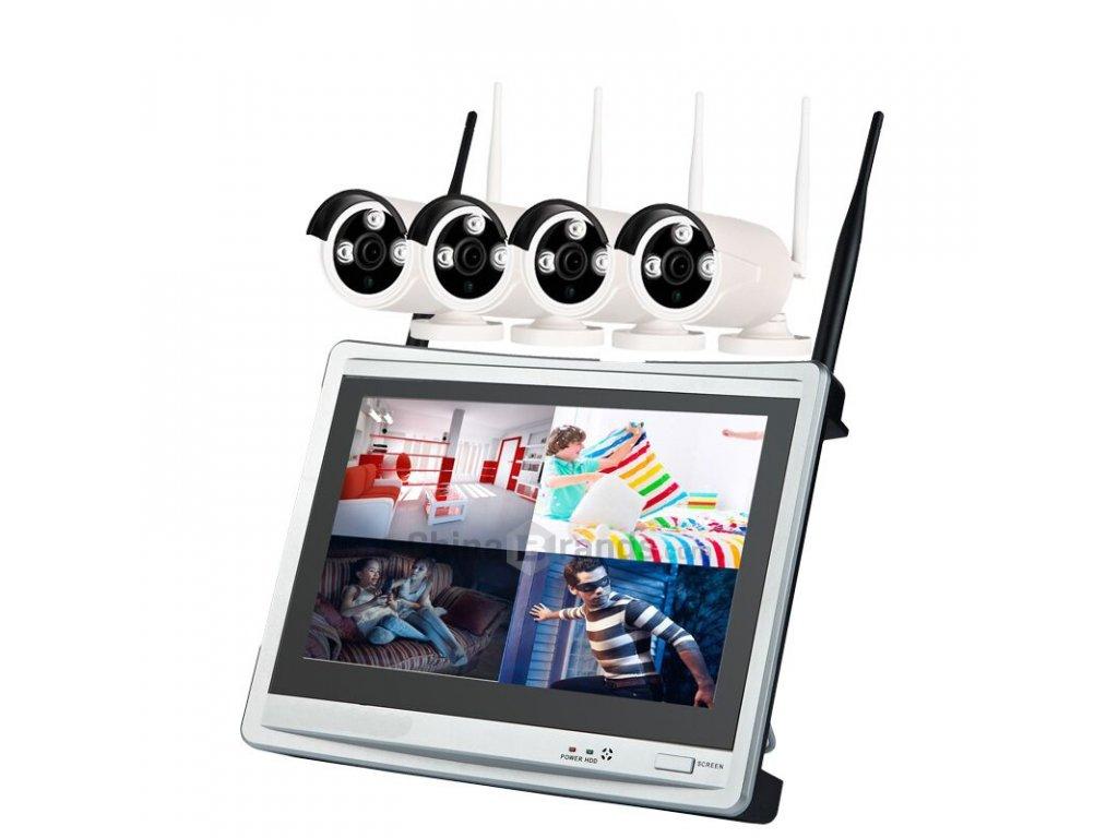 """NVR bezdrátový kamerový set 4x IP wifi venkovní kamery,960P,11""""LCD"""