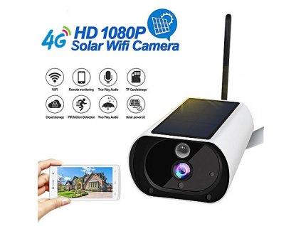 4G bezdrátová venkovní kamera se solárním dobíjením a PIR senzorem, SD až 64GB
