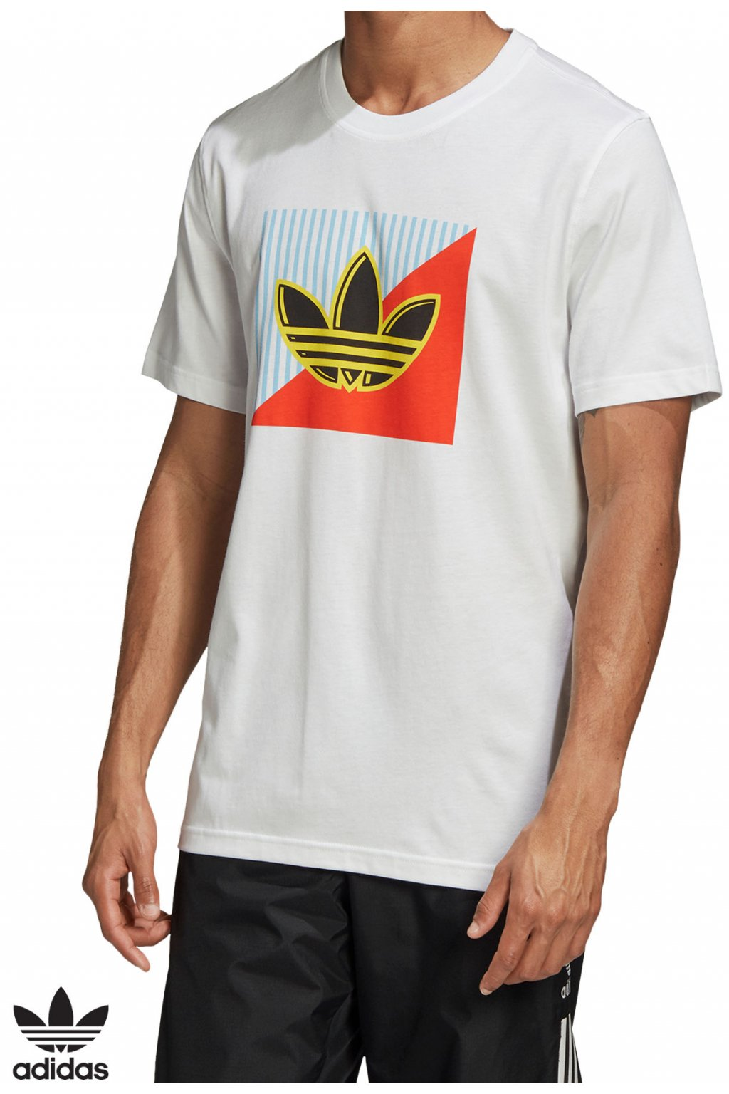fm3389 tricko adidas diagonal logo tee biele