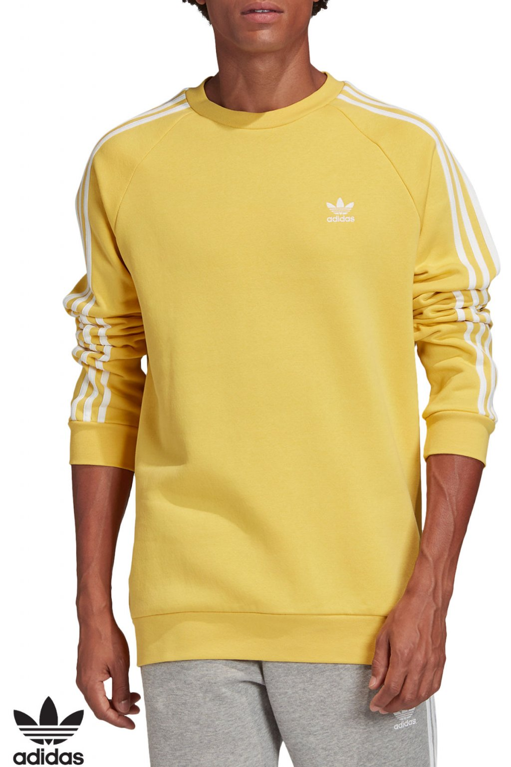 fm3779 panska mikina adidas 3 stripes zlta