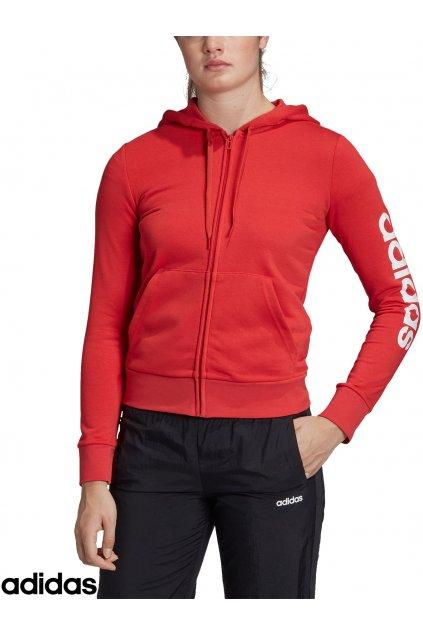 fm6483 damska mikina adidas ess linear full zip hoodie cervena