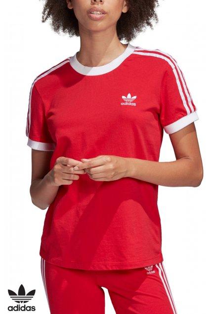 fm3318 damske tricko adidas 3 stripes tee cervene