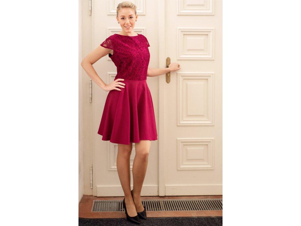 Šaty NORA - šaty s krajkou - bordové