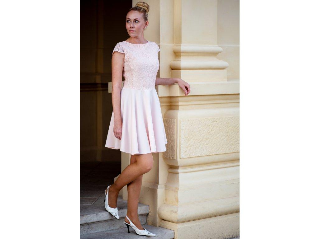 Šaty NORA - šaty s krajkou - růžová