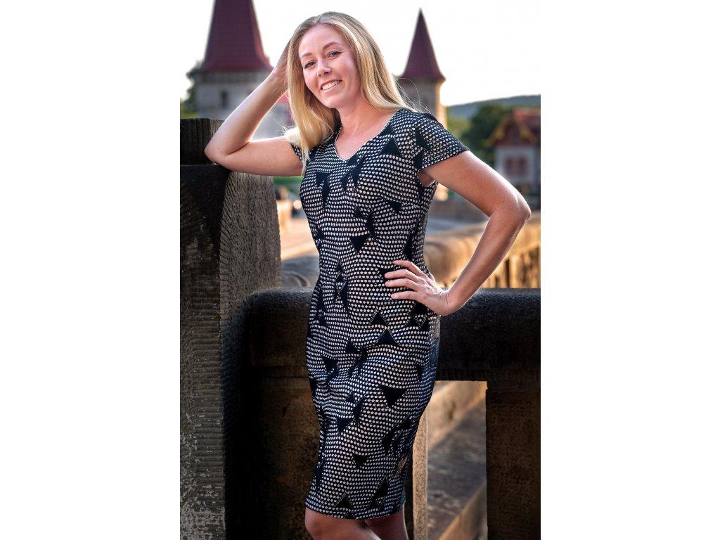 Šaty HELENA - elegantní přiléhavé šaty - černobílé