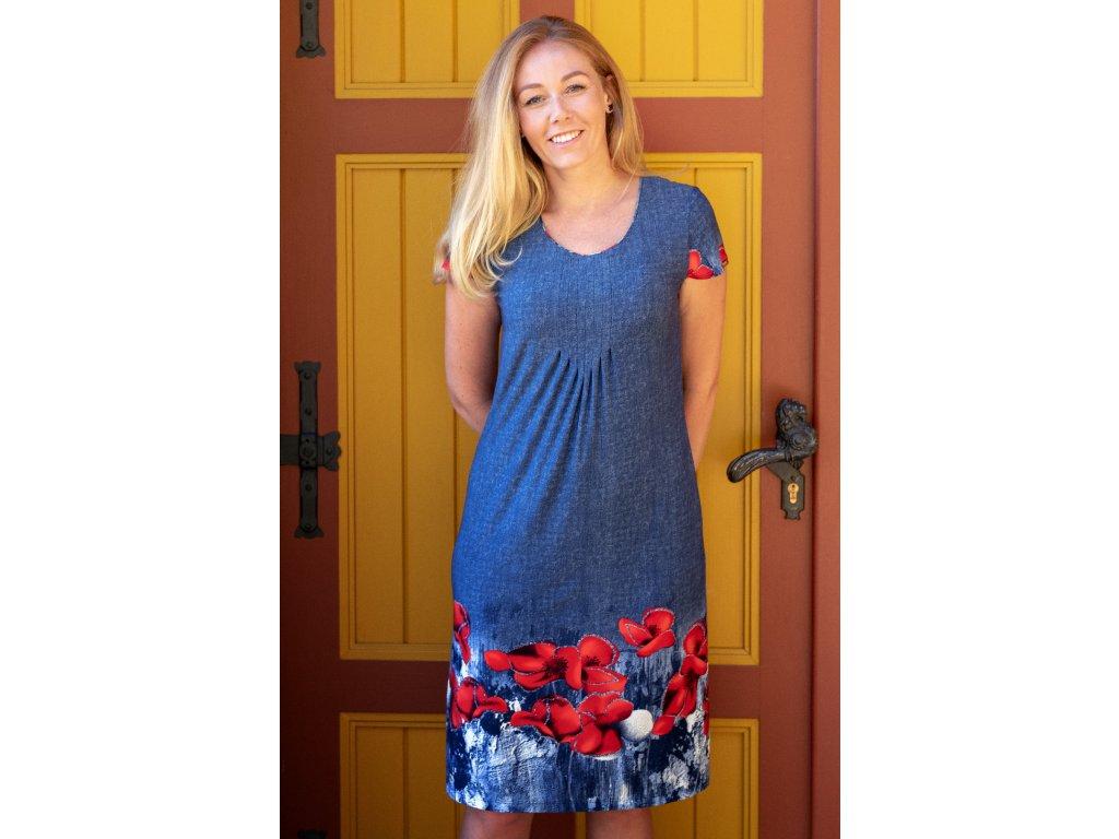 Šaty ZLATICA - lehce vypasované tunikové šaty s potiskem