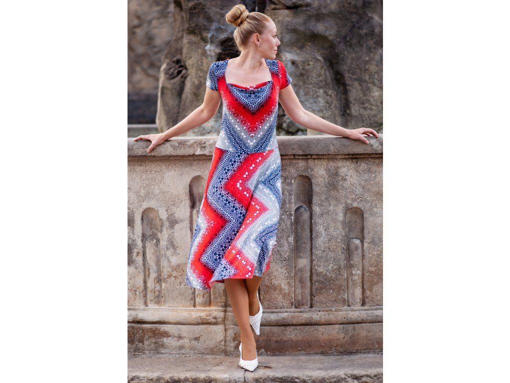 Šaty JARKA - midi šaty - červenošedé
