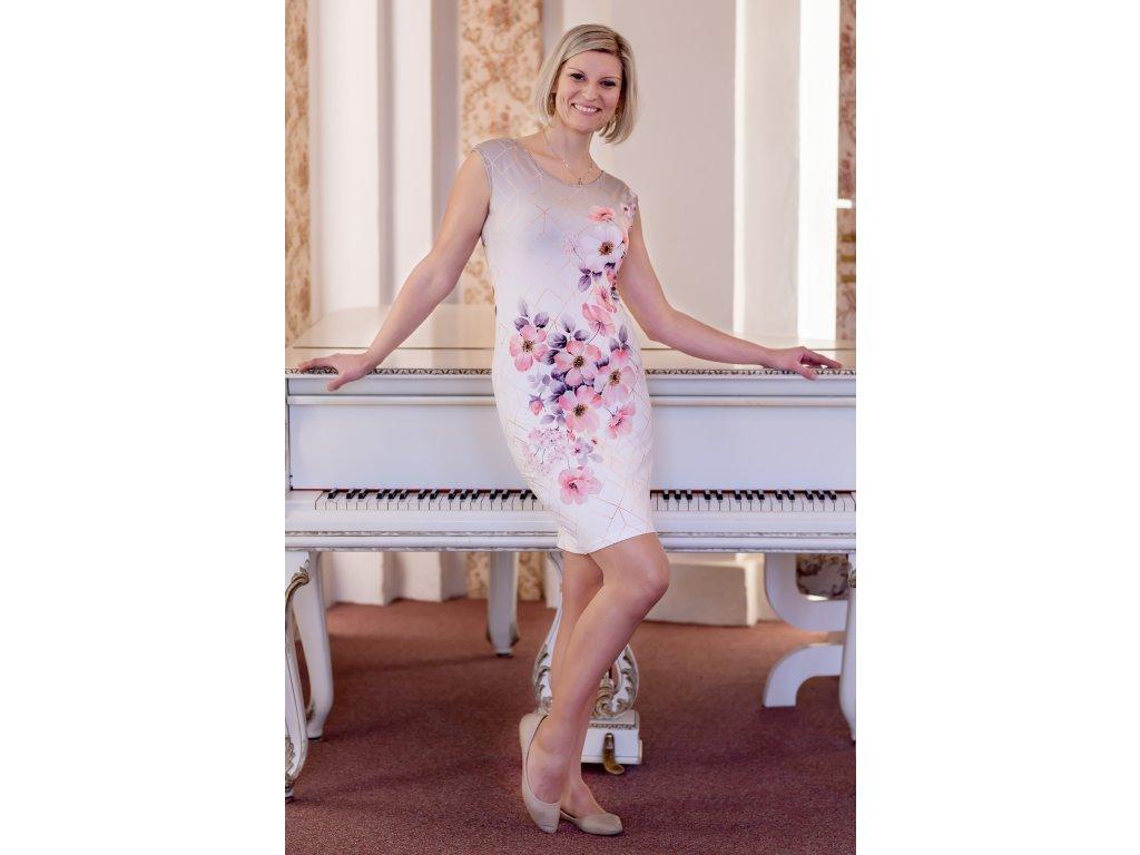 Šaty VIKTÓRIA -  přiléhavé šaty s květy