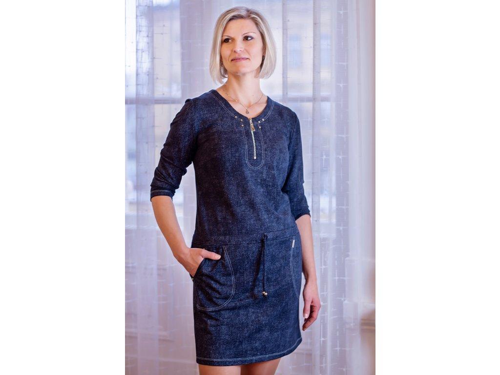 Šaty EVA - šaty s podkasáním - riflový design