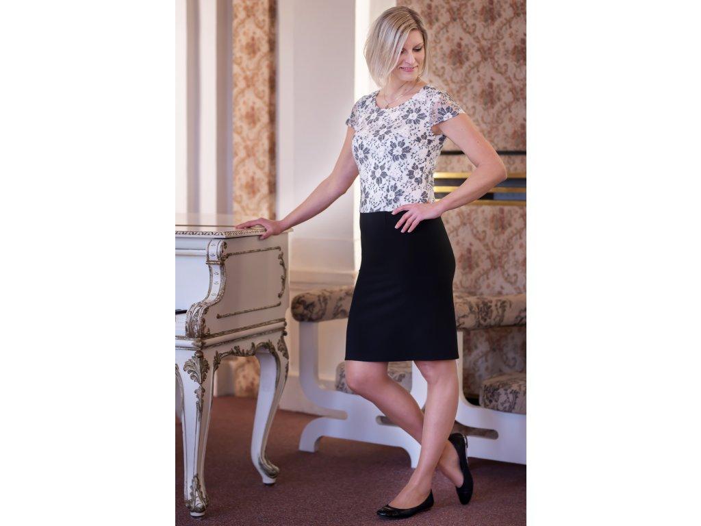 Šaty LENKA - šaty s krajkovým živůtkem - šedobílé