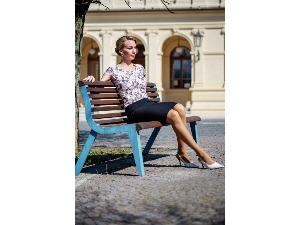 Šaty LENKA - šaty s krajkovým živůtkem - šedorůžové