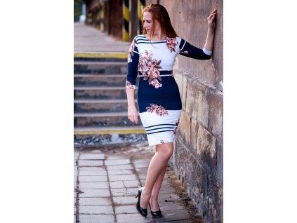 Šaty INA - elegantní úpletové šaty s jemným motivem
