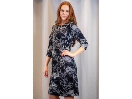 Šaty LERY - elegantní pouzdrové šaty - černobílé