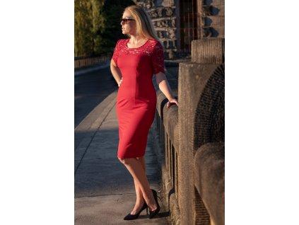 Šaty LEJLA - společenské červené