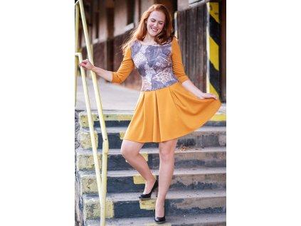 Šaty GABA - úpletové šaty - okrové