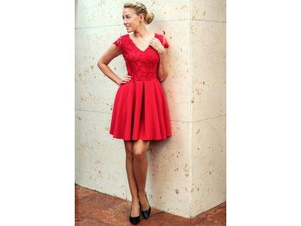 Šaty LEONA - společenské šaty s krajkou - malinové