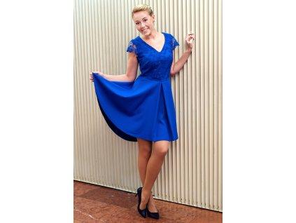 Šaty LEONA - společenské šaty s krajkou - modré