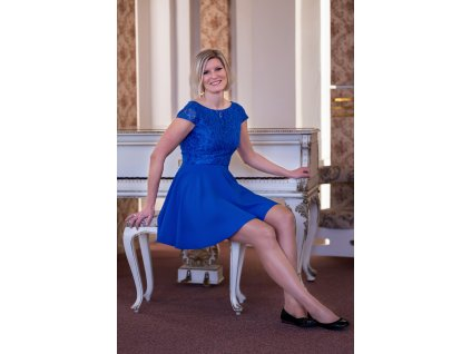 Šaty NORA - šaty s krajkou - modré