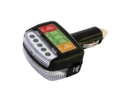 Tester akumulátoru a dobíjení 12 V + světlo