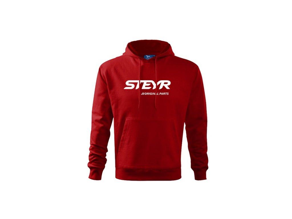 Mikina červená STEYR bílé logo