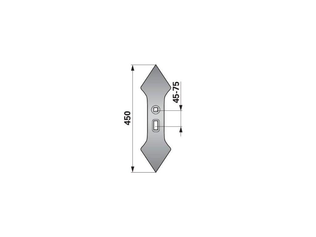 Dvojsrdce 135 mm, rozteč 45-75 mm, rádius 300
