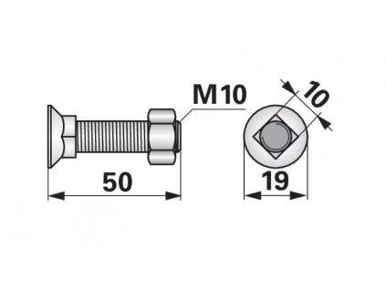 Pluhový šroub čtyřhran M10x50 10.9 s matkou