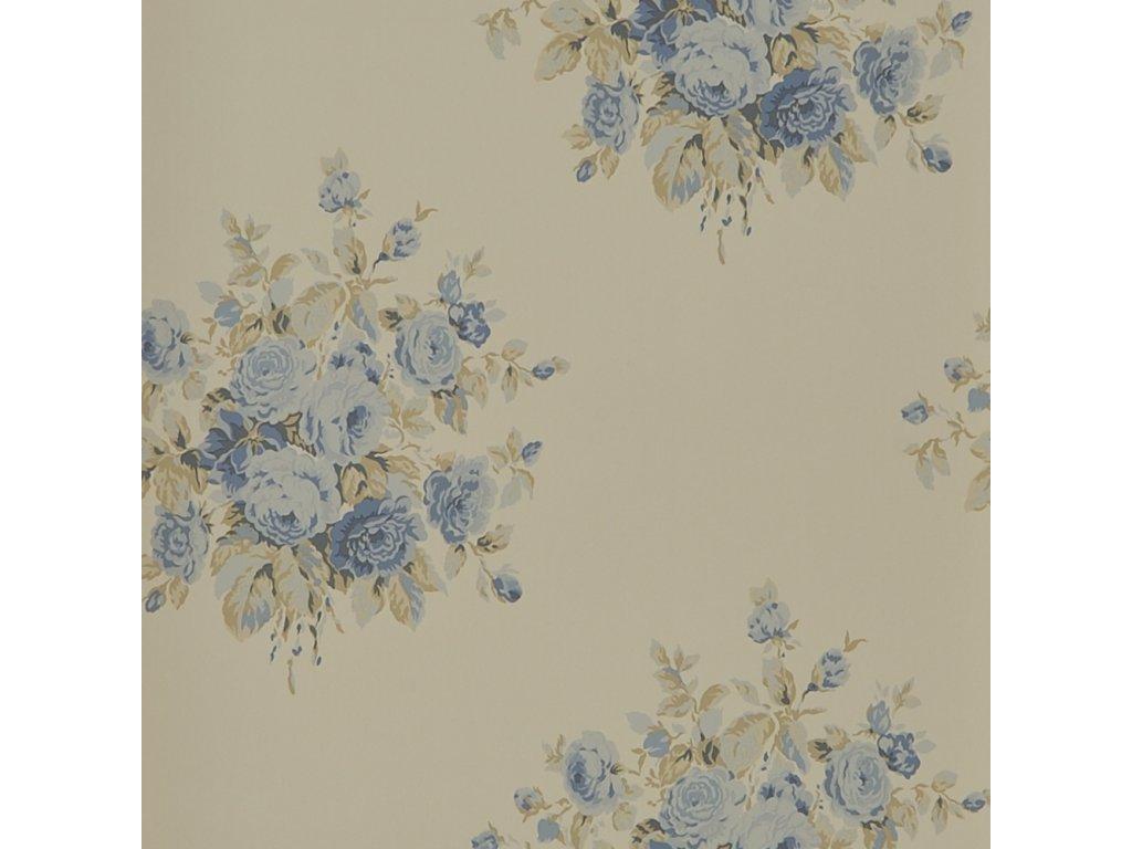 Wainscott Floral Aqua and Blue Wallpaper PRL707 07