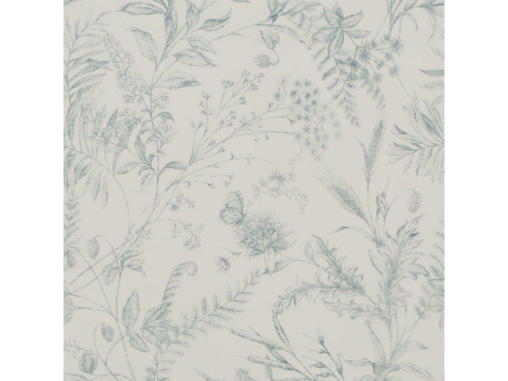 Fern Toile Aqua and Blue Wallpaper PRL710 01