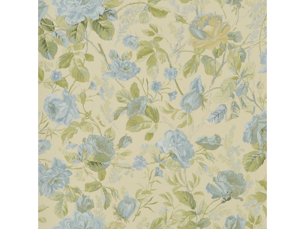 Marston Gate Floral Aqua and Blue Wallpaper PRL705 01