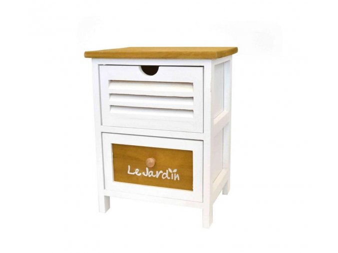 Drevená komoda 2-poschodová ú nočný stolík nízka so šuflíkmi bielo-medovohnedá
