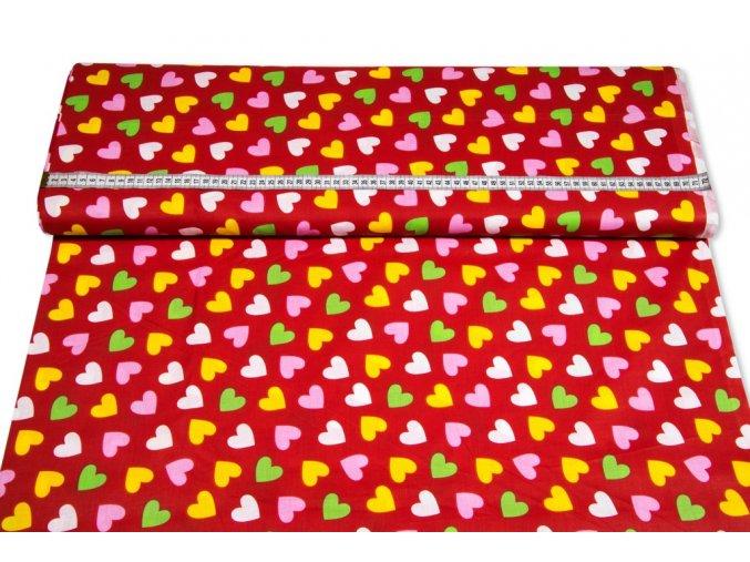 bavlnena latka farebne srdcia 140 cm 17853962