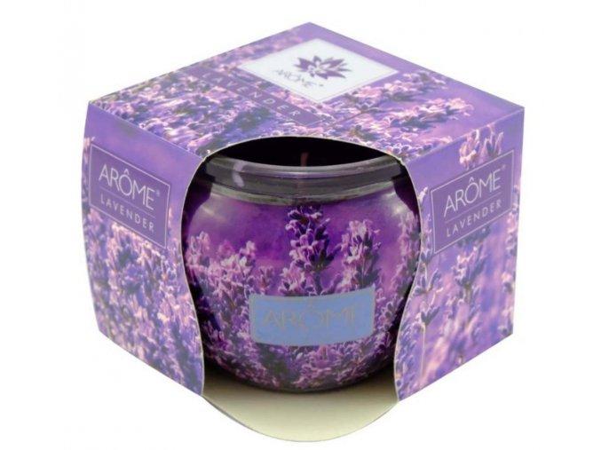 Vonná sviečka fialová levanduľa v skle Lavender