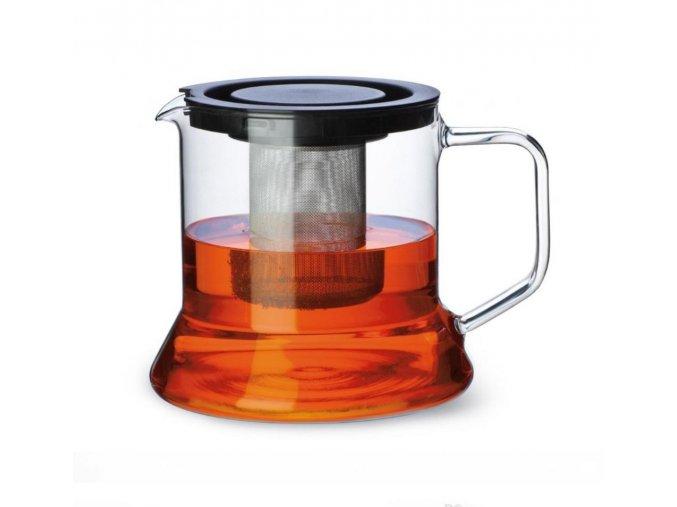 Sklenená KANVICA LOOK 1,8L na sypaný čaj VIEČKO+SITKO KOVOVÉ borosilikátové sklo