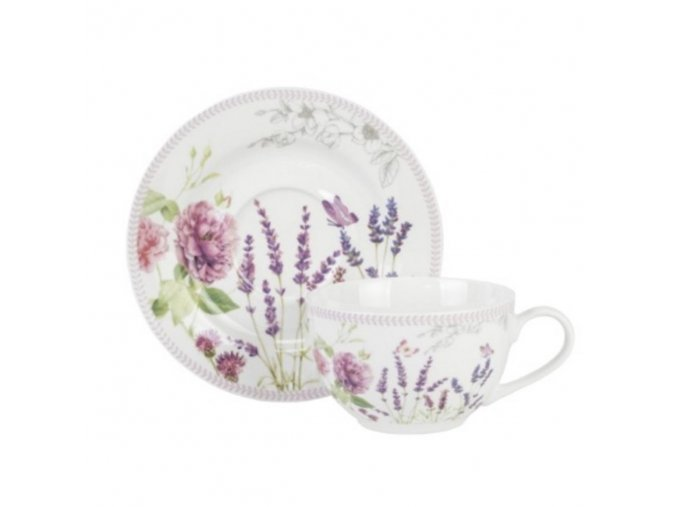 Porcelánová šálka s podšálkou sada 2+2 v darčekovej krabičke 250ml s motívom krásnych kvetov a Levandule