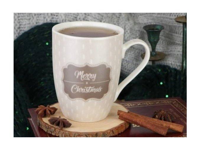 Vianočný HRNČEK s krásnym vianočným motívom MAGIA, 360 ML béžovo hnedá farba