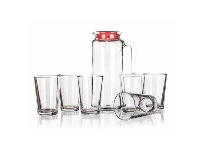 Džbán 1l s červeným viečkom a 6x pohár na vodu 205ml Džbánový set 7ks číre SKLO