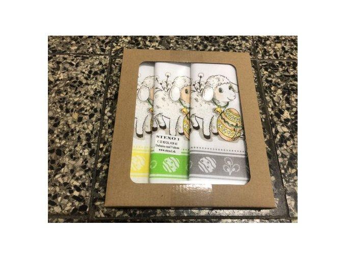 Bavlnené veľkonočné utierky 45*65cm  sada 3ks Veľkonočné vajíčka, Zajačik a Baranček v darčekovom balení