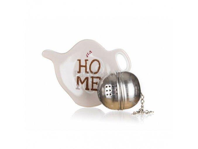 Čajová súprava na lúhovanie sypkých čajov - sitko na čaj a mini keramická tácka s motívom HOME