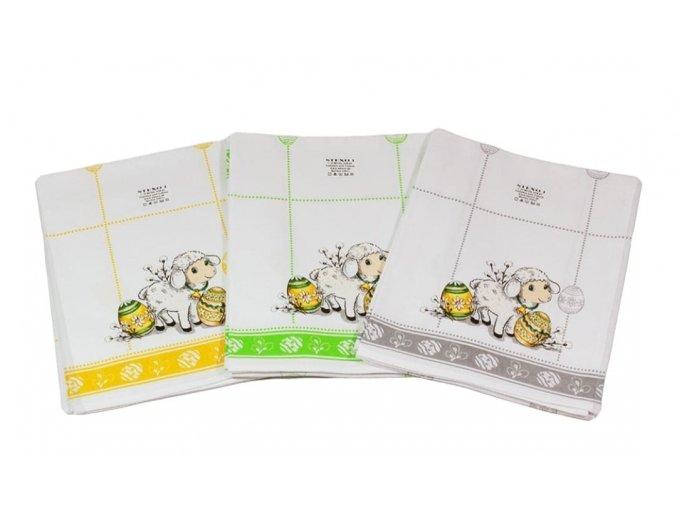 Veľkonočná Bavlnená utierka s krásnou potlačou - Veľkonočný Zajačik, Vajíčka a Baranček (sivá, žltá a zelená)