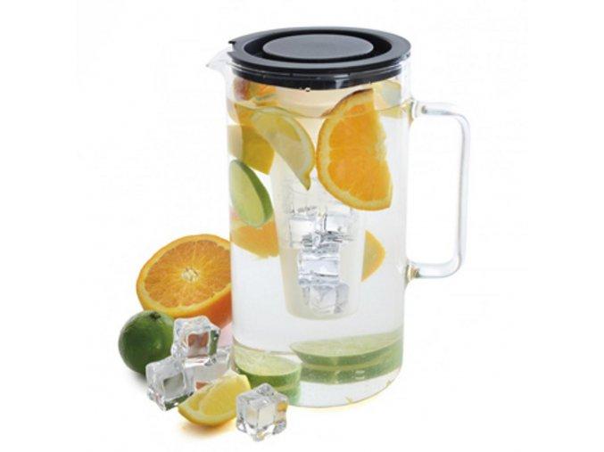 Sklenený džbán SIMAX na vodu a čaj objem 2,5 litra s vložkou na ľad a vekom WW