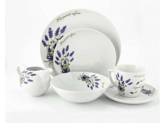 Levanduľová jedálenská porcelánová súprava 32 dielna SADA s motívom LEVANDUĽA