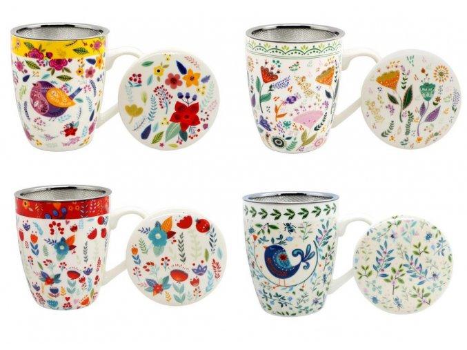 Hrnček s kovovým sitkom na sypaný čaj porcelán 360ml s ĽUDOVÝM motívom KVIETKY pestrý