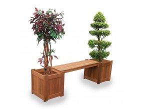 Drevená záhradná lavica s drevenými kvetináčmi
