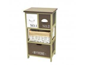 Drevená komoda 3-poschodová vysoká so zásuvkami hnedo/biela