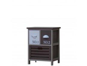 Drevená komoda/nočný stolík 2-poschodová nízka so zásuvkami hnedo/biela