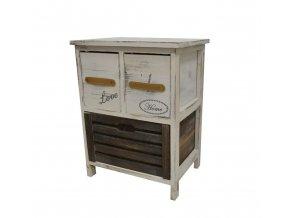Drevená komoda 2-poschodová úzka / nočný stolík so šuflíkmi béžovohnedá