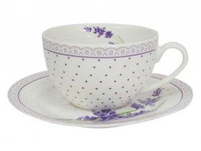 Šálka s podšálkou kávová súprava 6+6 porcelán 250ml s motívom LEVANDULA